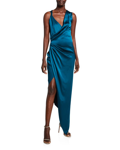 Draped Charmeuse Deep-V Dress