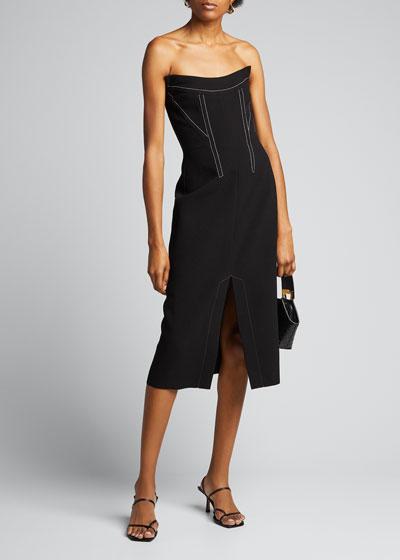 Crepe Front-Slit Bustier Dress