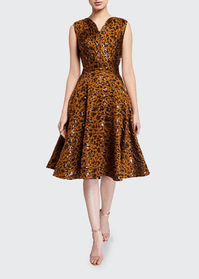 Leopard-Print Fit & Flare Cocktail Dress