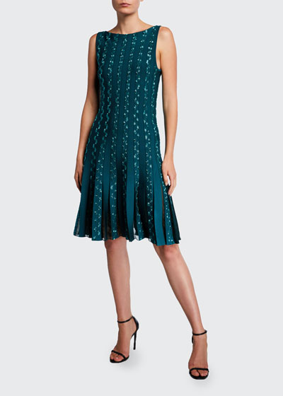 Embroidered Jersey Cocktail Dress