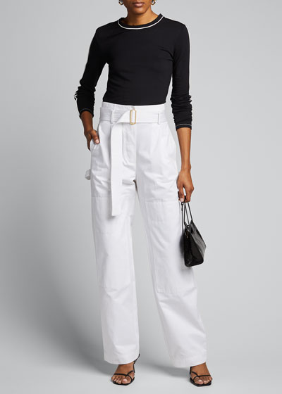 Cotton Cargo Belted Pants