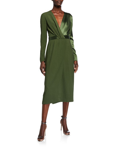 Satin-Back Crepe Long-Sleeve Dress