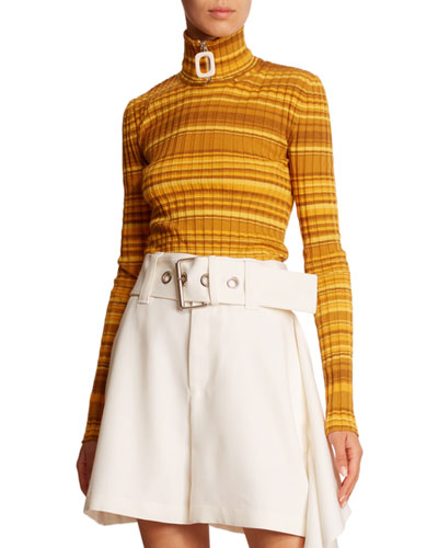 Striped Wool Zip-Turtleneck Sweater