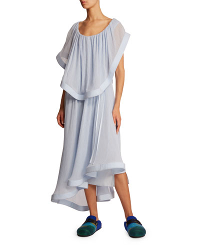 Silk Overylay Asymmetric Dress