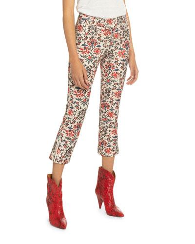 Floral Print Cotton Crop Pants