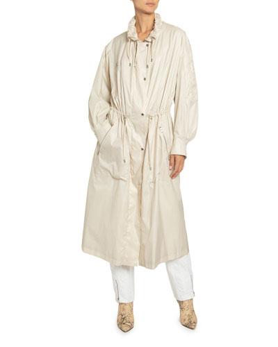 Taffeta Drawstring Zip-Front Coat