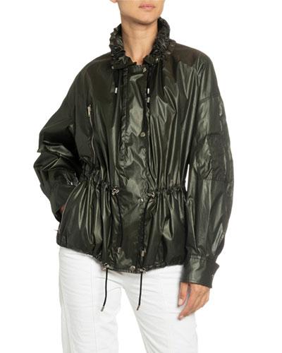 High-Neck Drawstring Jacket