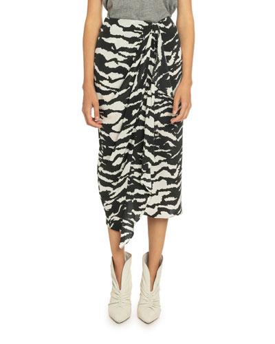 Tiger Print Stretch-Silk Wrap Skirt