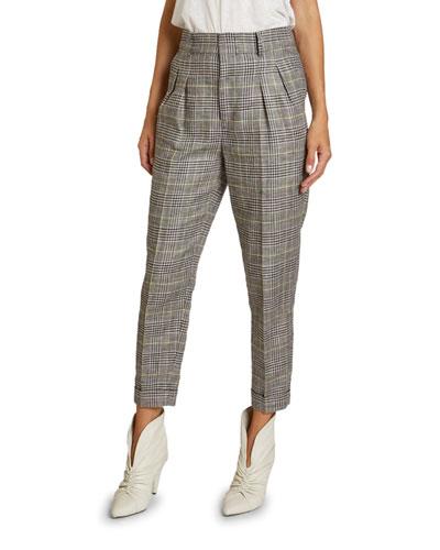 Checked Linen-Silk Slim-Leg Crop Pants