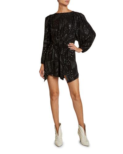 Embellished Jersey Dolman-Sleeve Dress