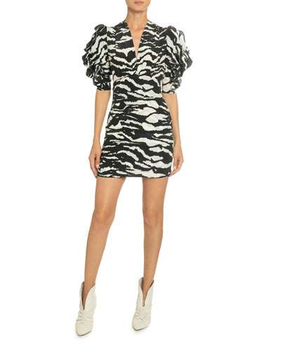 Tiger-Striped V-Neck Ruffled Sleeve Dress