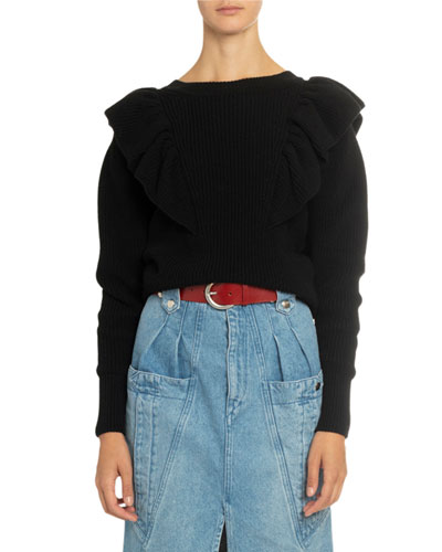 Crewneck Ruffled Sweater