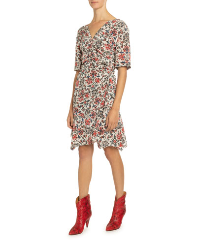 Elbow-Sleeve Ruched Floral Print Dress