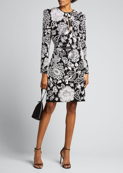 Long-Sleeve Embroidered Keyhole Cocktail Dress
