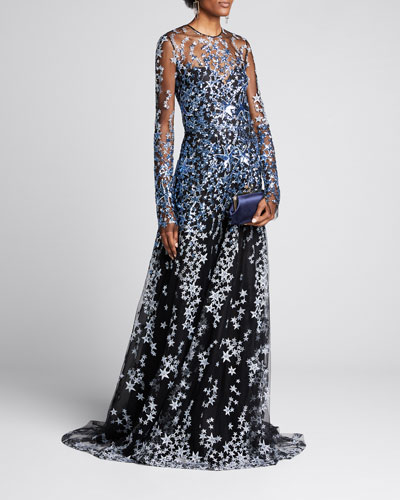 Star-Embroidered Long-Sleeve Illusion Gown