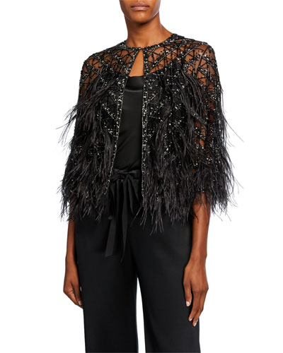 Feathered Cocktail Capelet Jacket