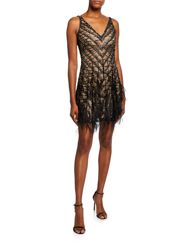 Feathered V-Neck Dress