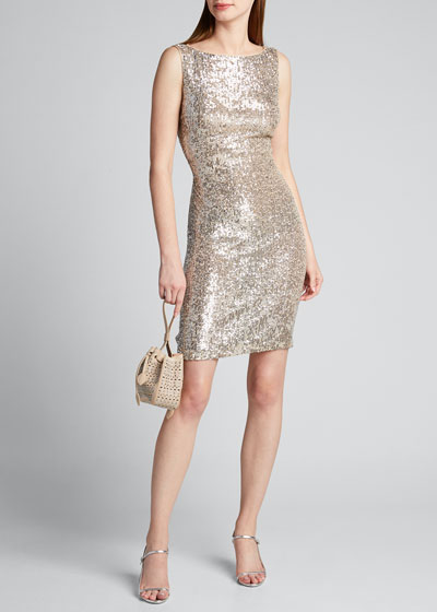 Sequined Open-Back Cocktail Dress