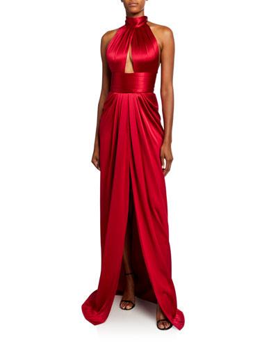 Silk Satin Peep-Hole Column Gown