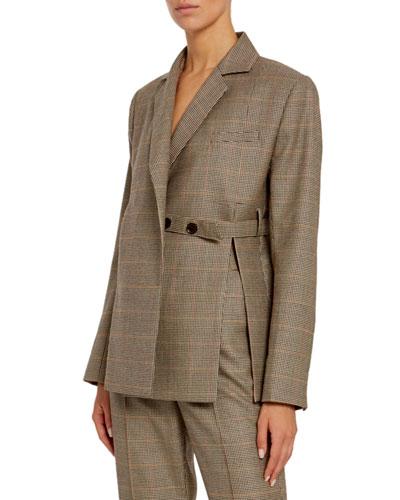Wool Double-Breasted Tie-Waist Blazer