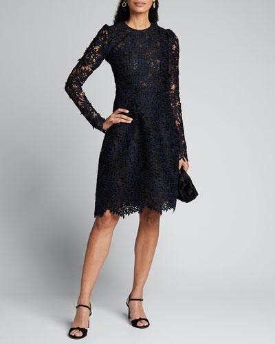 Guipure Lace Long-Sleeve Dress