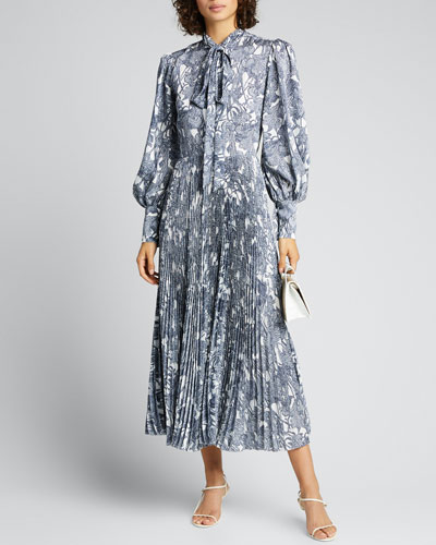 Abstract Silk Tie-Neck Shirtdress