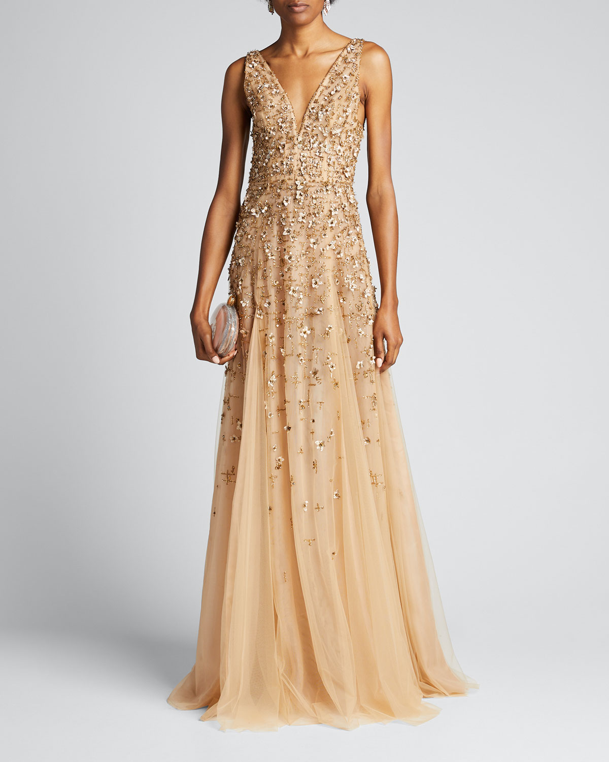 J Mendel Embroidered-tulle Sleeveless Gown In Gold