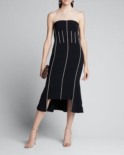 Crystal-Trim Strapless Midi Dress