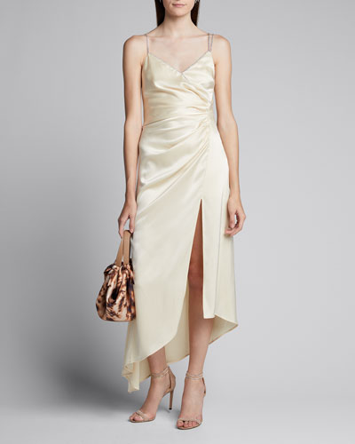 Ruched Satin Asymmetric Dress