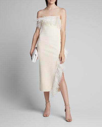 Strapless Feather-Trim Asymmetric-Hem Dress