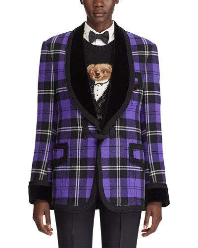 Wilde Plaid Velvet-Lapel Tuxedo Jacket