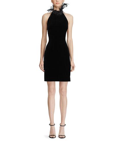 Deserae Feather-Trim Velvet Dress