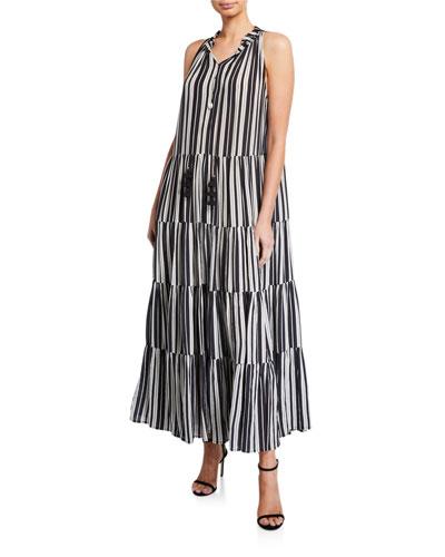 Betty Puka Shell-Trim Striped Tunic Dress