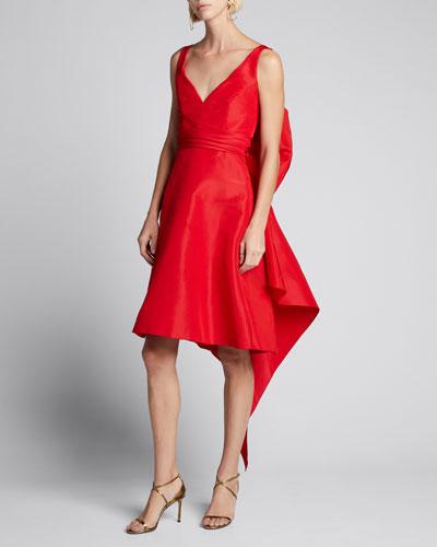 Faille Bow-Back Sleeveless Dress