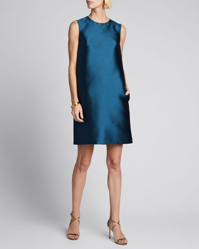 Silk Gazar Sleeveless Shift Dress