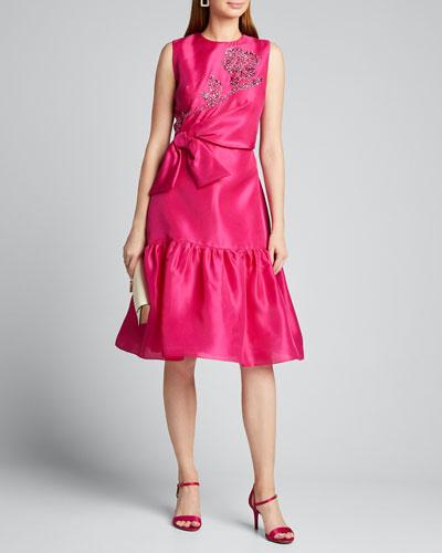 Embroidered-Gazar Ruffled Dress