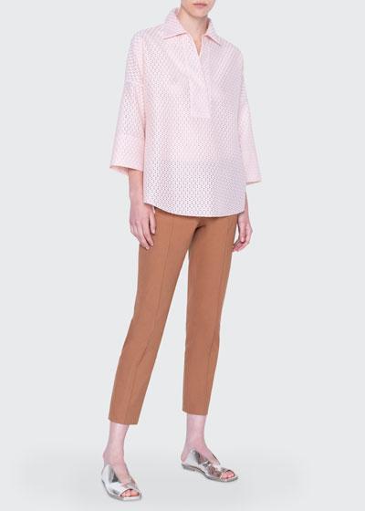 Lace Kimono-Sleeve Blouse