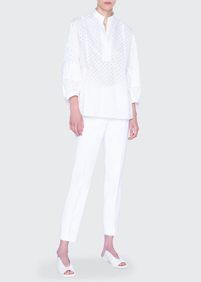 Pleated Pin-Dotted Voluminous-Sleeve Blouse