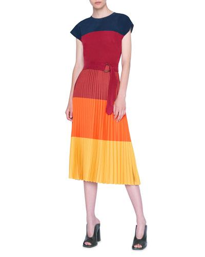 Pleated Techno Jersey Crewneck Dress