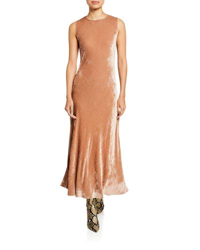 Velvet Corded Crewneck Dress, Tan