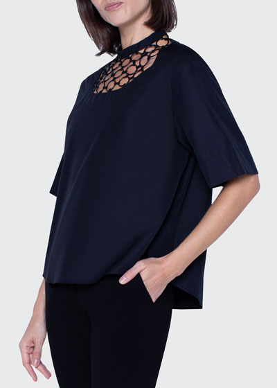 Washed Poplin Chain-Neck Blouse