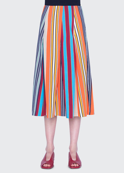 Parasol Striped Cotton Midi Skirt