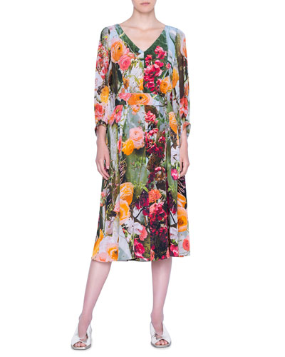 Cactus Silk Crepe Midi Dress