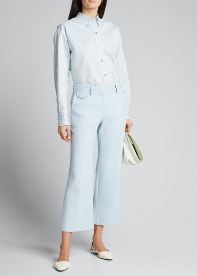 Crepe Flared Crop Trousers