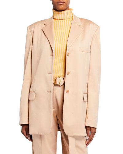 Wool Twill Oversized Blazer