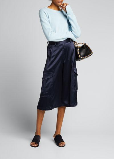 Wool-Cashmere Long-Sleeve Crewneck Sweater