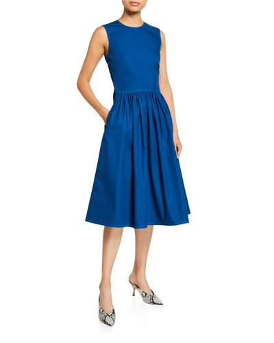 Canvas Ruched-Waist Dress