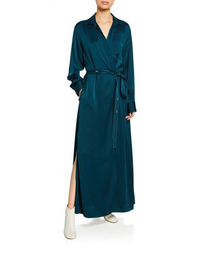 Silk Satin Wrapped Shirtdress