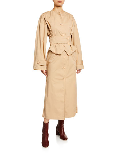 Crewneck Button-Front Trench Dress