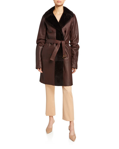 Reversible Leather and Shearling Belted Coat